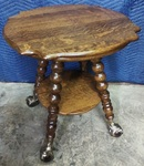 Quarter sawn oak lamp table w/large ball and claw feet
