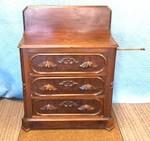 WALNUT VICTORIAN BRIDES CHEST W/PULL OUT TOWEL BAR